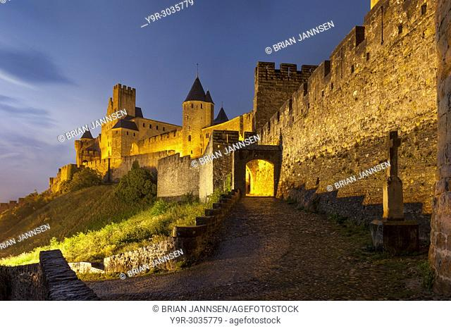 Gated entry to the fortified Cite Carcassonne, Occitanie, France