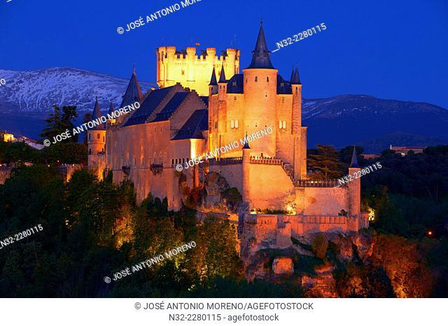 Alcazar at Dusk, Segovia, Castilla-Leon, Spain