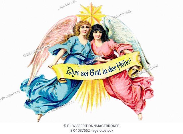 Nostalgic German illustration, two female angels with Star of Bethlehem holding banner Ehre sei Gott in der Hoehe