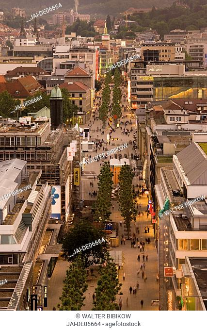 Germany, Baden-Wurttemberg, Stuttgart, Konigstrasse from Train Station Tower