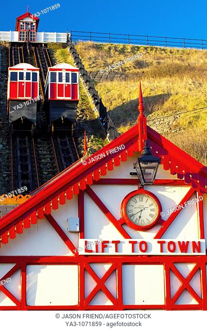 England, Cleveland, Saltburn-by-the-Sea  View looking towards the top of the funicular railway, one of the world's oldest water-powered cliff lifts