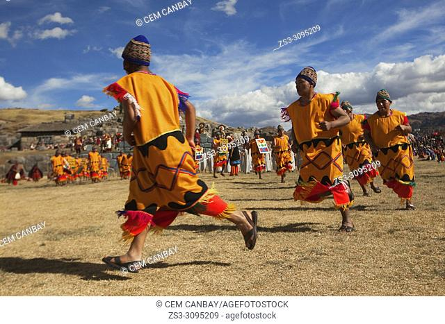Scene from the Inti Raymi Festival at Saqsaywaman with the performers in the foreground, Cusco, Peru, South America