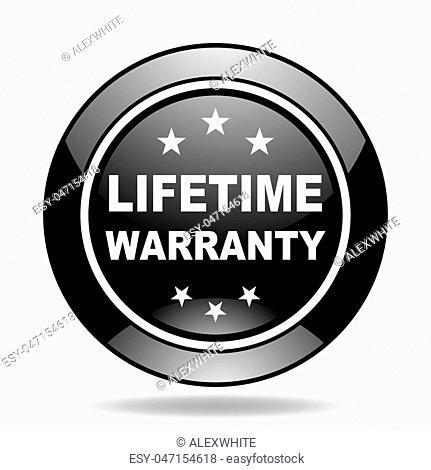 lifetime warranty black glossy icon