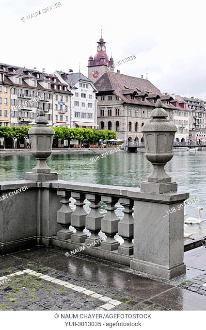 The Reuss river and promenade in the old part of Lucerne, north-central Switzerland, Europe