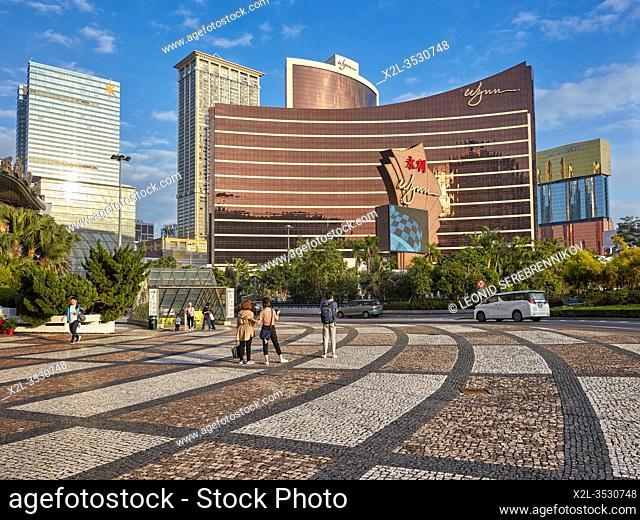 Main facade of the Wynn Macau, a luxury hotel and casino. Macau, China