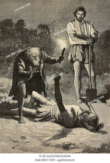 Faulkener, Phra and the dried soldier, The Wonderful Adventures of Phra the Phoenician, engraving after a drawing by Henry Marriott Paget (1856-1936)