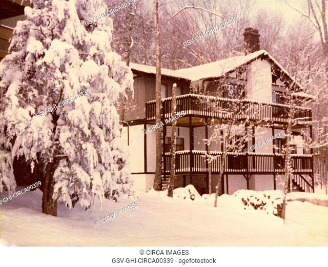 Vacation Home in Winter, circa 1970's