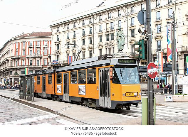 Tram, Cordusio Place, Milan, Lombardy, Italy