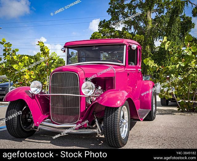 American custom hot rod cars at the Cruisin' on Dearborn Street car show in Englewood Florida USA