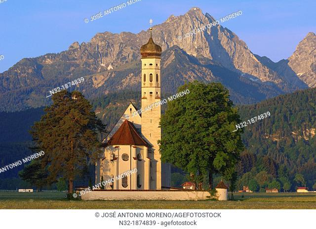 Fussen, Allgau, St  Coloman Church, Romantische Strasse, Romantic Road, Bavaria, Germany, Europe