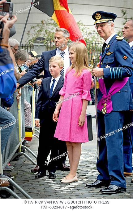 King Philippe of Belgium (R), Crown Princess Elisabeth and Prince Emmanuel after the Te Deum mass at the Cathedral of St. Michael and St