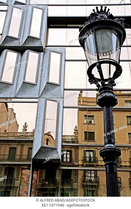 Lamppost, reflection, tourism office in Rambla Catalunya, Barcelona, Catalonia, Spain