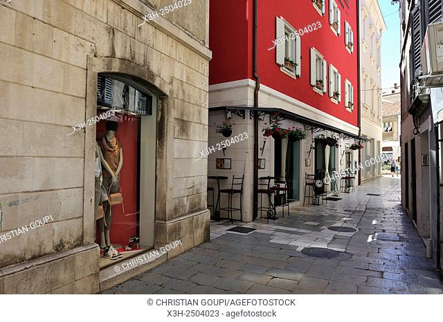 Zadarska street with Hotel Marmont red building, Old Town, Split, Croatia, Southeast Europe