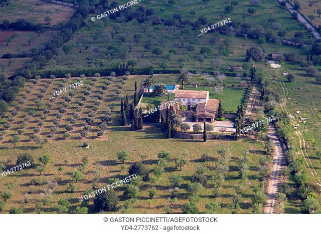 Aerial view of a house in the countryside, Mallorca lands, Balearic Island, Spain