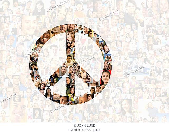 Illuminated peace sign in collage of smiling faces