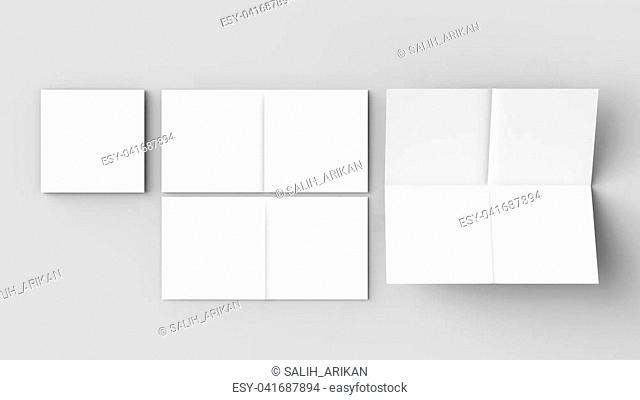 8 page leaflet - French fold right angle square brochure mock up isolated on soft gray background. 3D illustrating