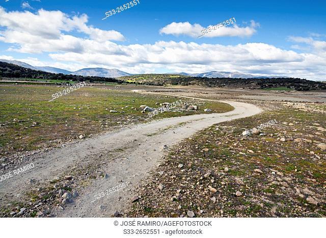 Montes de toledo from Torcón reservoir. San Pablo de los Montes. Toledo. Castilla la Mancha. Spain. Europe