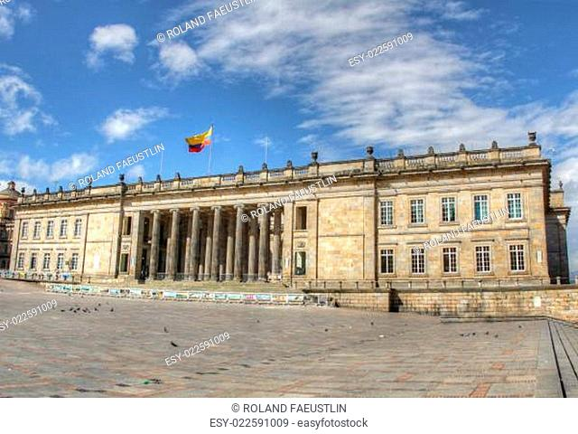 Capitolio of Colombia with Plaza Bolivar