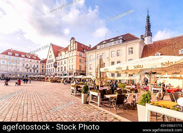 Tallinn, Estonia - September 29, 2018: Medieval Town Hall and Town Hall Square Raekoja of Tallinn, the capital of Estonia