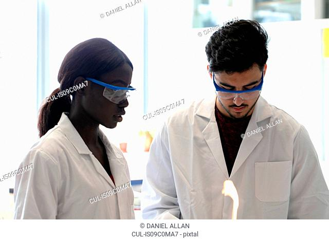 Young male and female scientists using bunsen burner in laboratory experiment