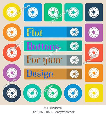 diaphragm icon. Aperture sign. Set of twenty colored flat, round, square and rectangular buttons. illustration