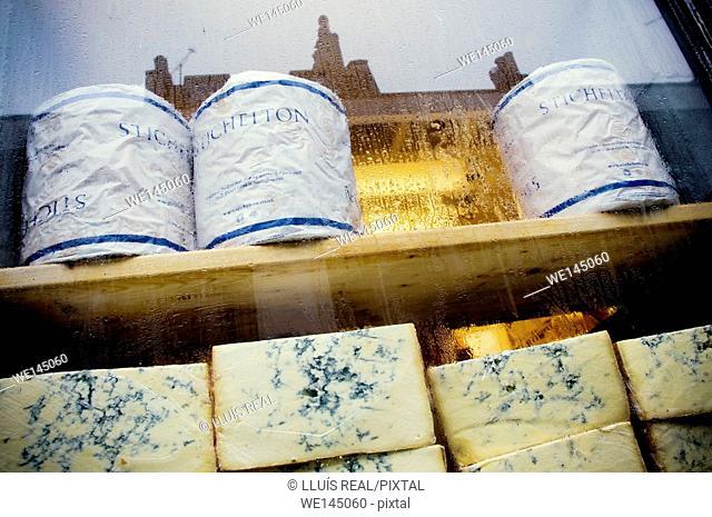 Pile of Stichelton cheese on a cheese store, Neals Yard, Borought Market, Southwark, London, England, UK, Europe
