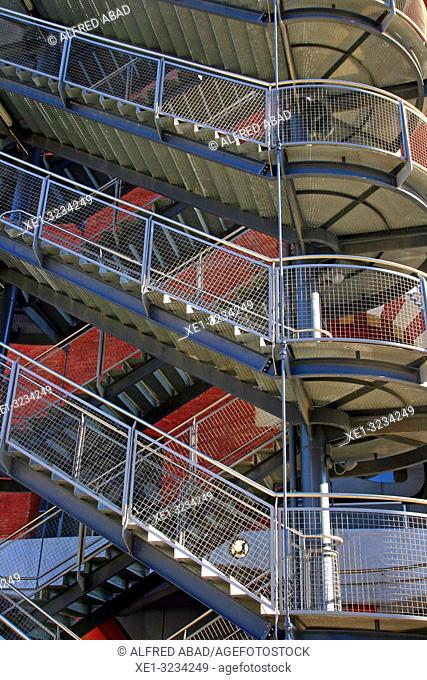 emergency staircase, shopping center Arenas, Barcelona, Catalonia, Spain