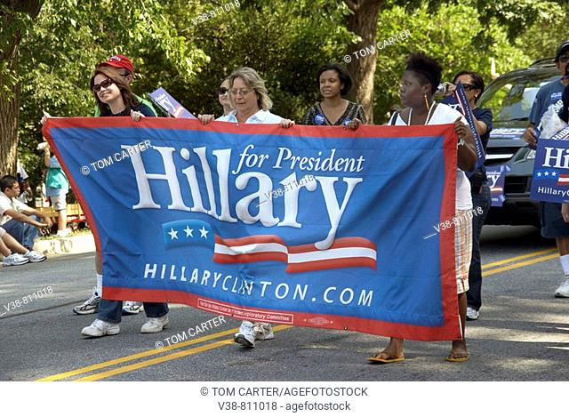 Hillary Clinton supporters at a parade in Greenbelt, Maryland
