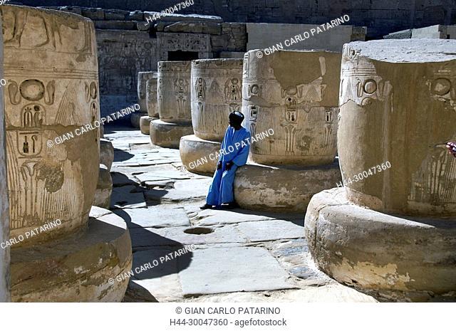Medinet Habu, Luxor, Egypt, Djamet, mortuary temple of King Ramses III, XX dyn. 1185 -1078 B.C: hypostyle hall