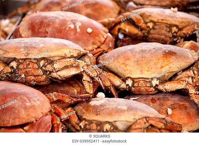 crabs on a fish market