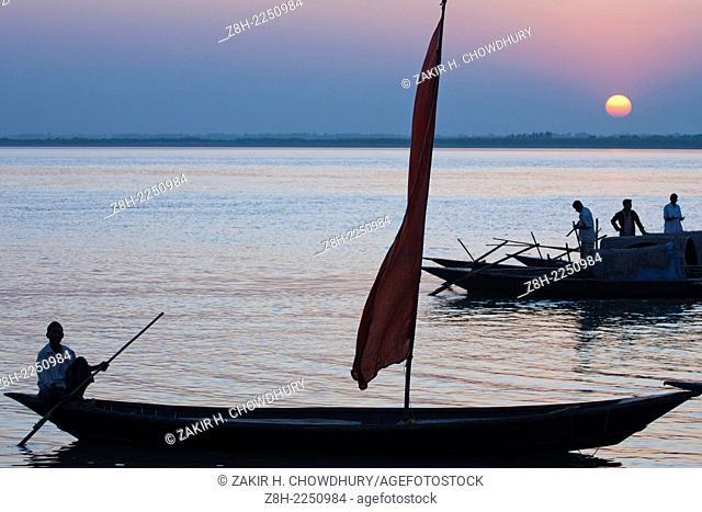 Bangladesh, Faridpur, Sailboat in river