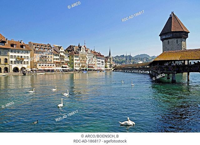 Chapel bridge and water tower, Lucerne, Switzerland, Luzern, roofed wooden bridge