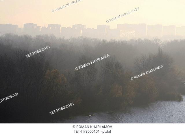 Ukraine, Dnepropetrovsk, Forest and remote city skyline at foggy dawn