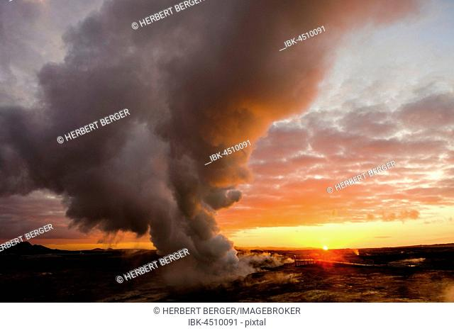 Smokestack in geothermal area Gunnuhver, Reykjanes, Iceland