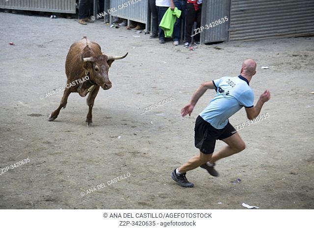 Mora de Rubielos Teruel Aragon Spain on September 28, 2019: Bull festival during the feasts in village