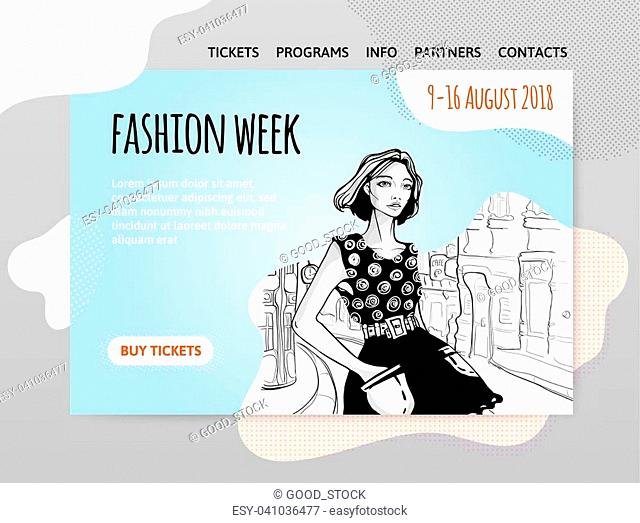 Fashion week, pretty young woman in a dress on a city street. Vector illutration, design template of fashion site header, banner or poster