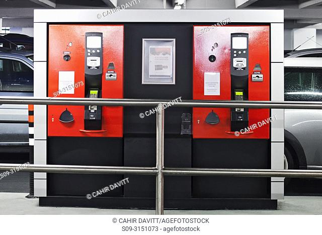 Ticket machines located in the interior of Q-Park Eyre Square car park, Galway, Co. Galway, Ireland
