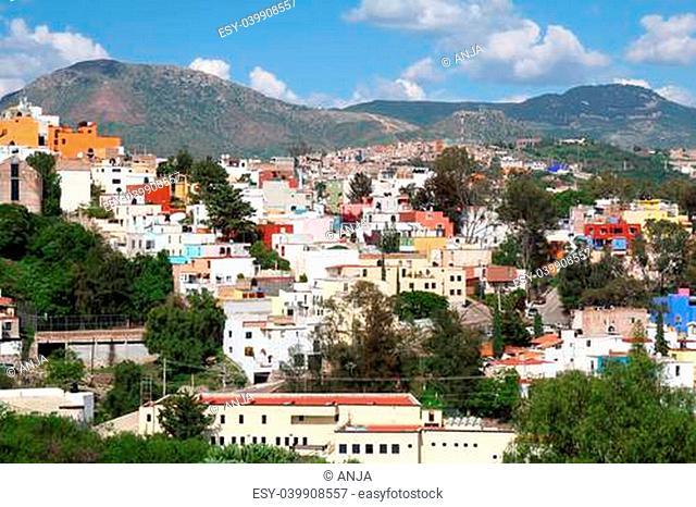 landscape of colorful town- Guanajuato in Mexico