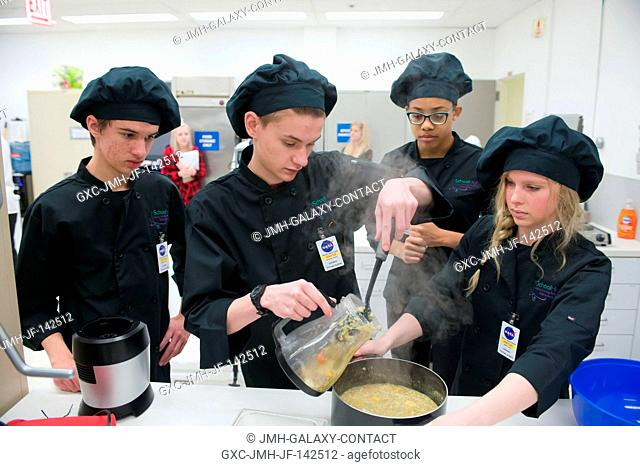 High School Students United with NASA to Create Hardware (HUNCH) preliminary cooking activity in the Johnson Space Center Space Food Systems Laboratory for the...