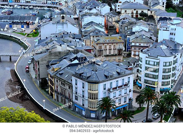 Negro river and overview of Luarca, Asturias, Spain
