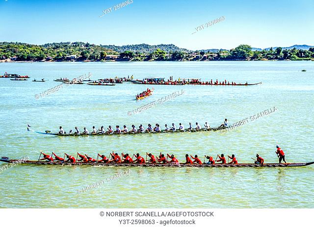 Asia. South-East Asia. Laos. Province of Champassak. 4000 islands. Don Khong. Boat race festival