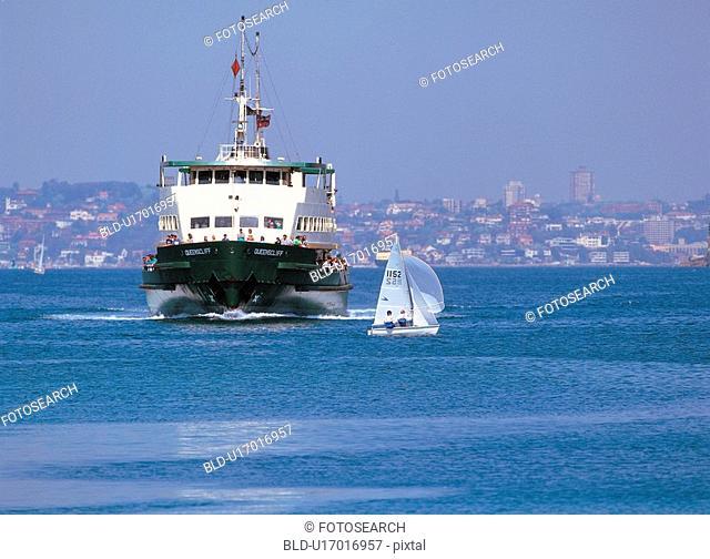 sky, transport, city, sea, ship, film
