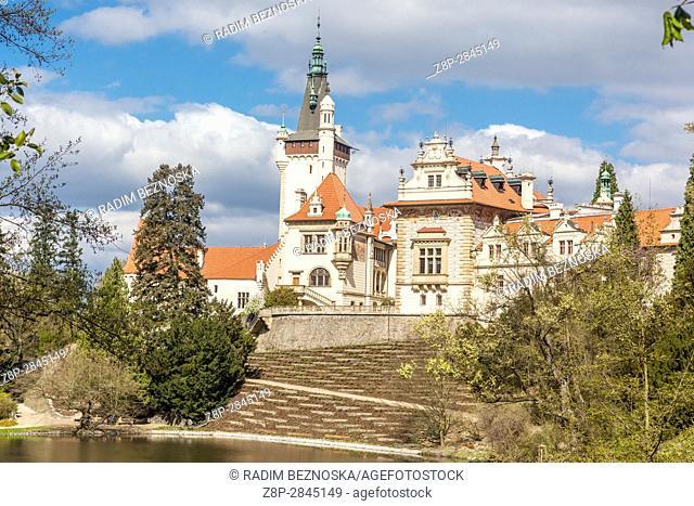 Pruhonice Castle with a large park is located near Prague, Czech Republic, Europe