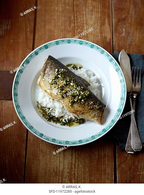 Trout with a Mexican herb sauce