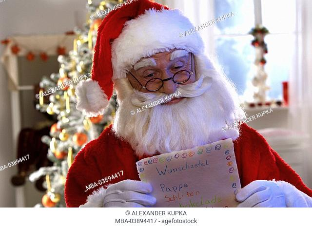 Santa Claus, glasses, wish lists, reading, semi-portrait, series, people, man, men's-portrait, disguise, beard, artificially, intoxication-beard, cap