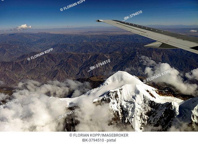 Illimani Glacier, 6,439 m, view from an aircraft, Departamento La Paz, Bolivia