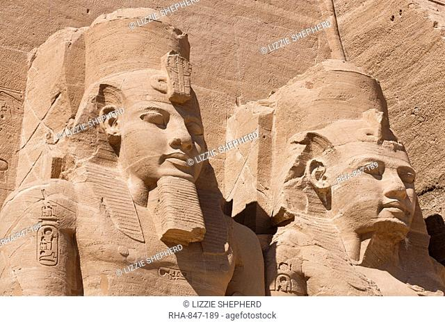 Giant heads of Ramesses II at the Temple of Re-Herakhte at Abu Simbel, UNESCO World Heritage Site, Nubia, Egypt, North Africa, Africa