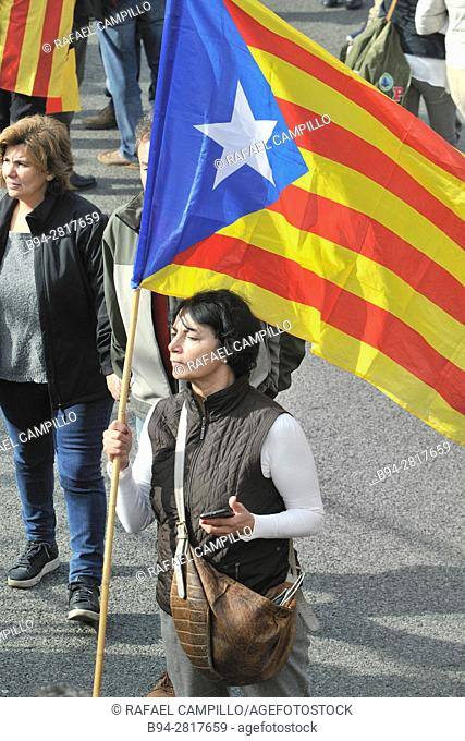 Demonstration on November 13, 2016 in favor of the Independence of Catalonia. Barcelona, Catalonia, Spain