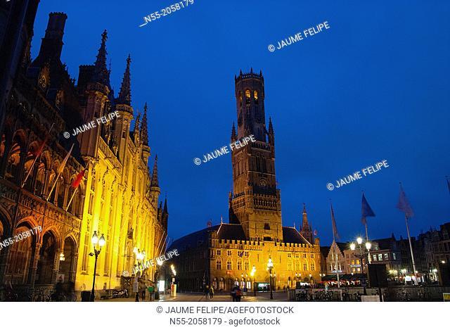 Markt square, Provincial Hall and Belfort XIIIth Century in Bruges, West Flanders, Belgium