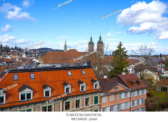 Cityscape and Abbey of St Gallen in Switzerland